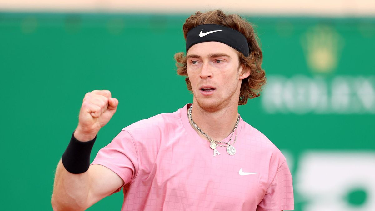 Andrey Rublev of Russia reacts during his match against Rafael Nadal