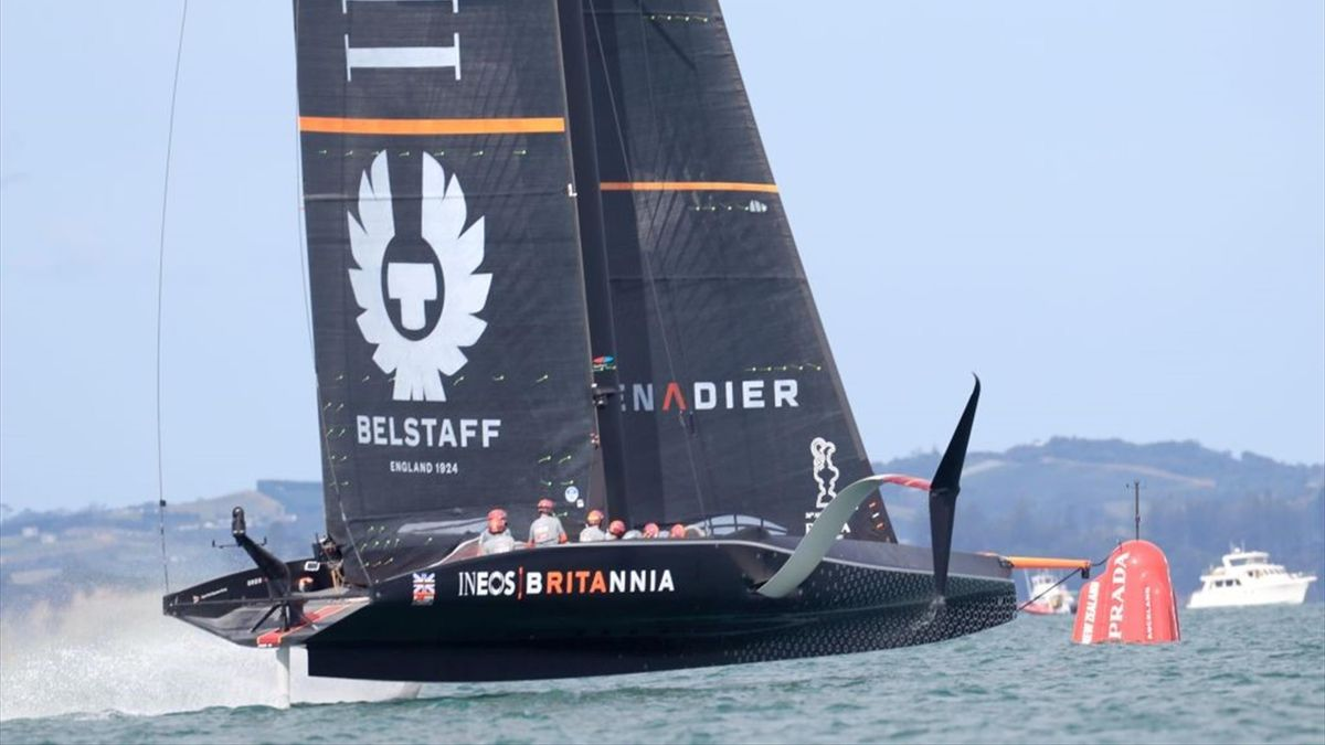 INEOS Team UK competes against New York Yacht Club American Magic in Round two, race 1 during the 2021 Prada Cup of the America's Cup challenger series in Auckland on January 16, 2021
