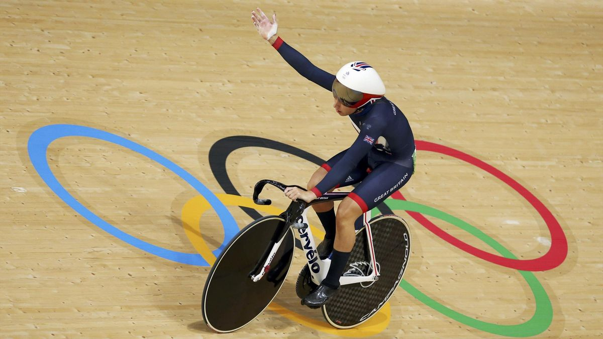 Laura Trott (GBR) of Britain competes.