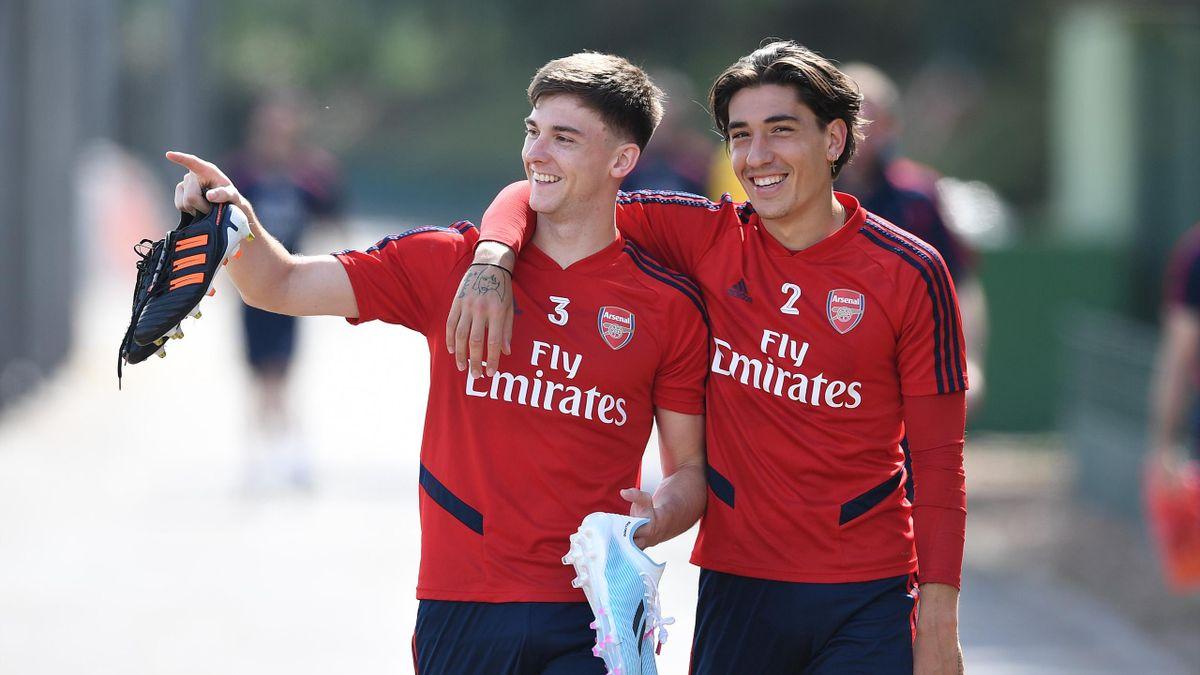 Kieran Tierney and Hector Bellerin of Arsenal