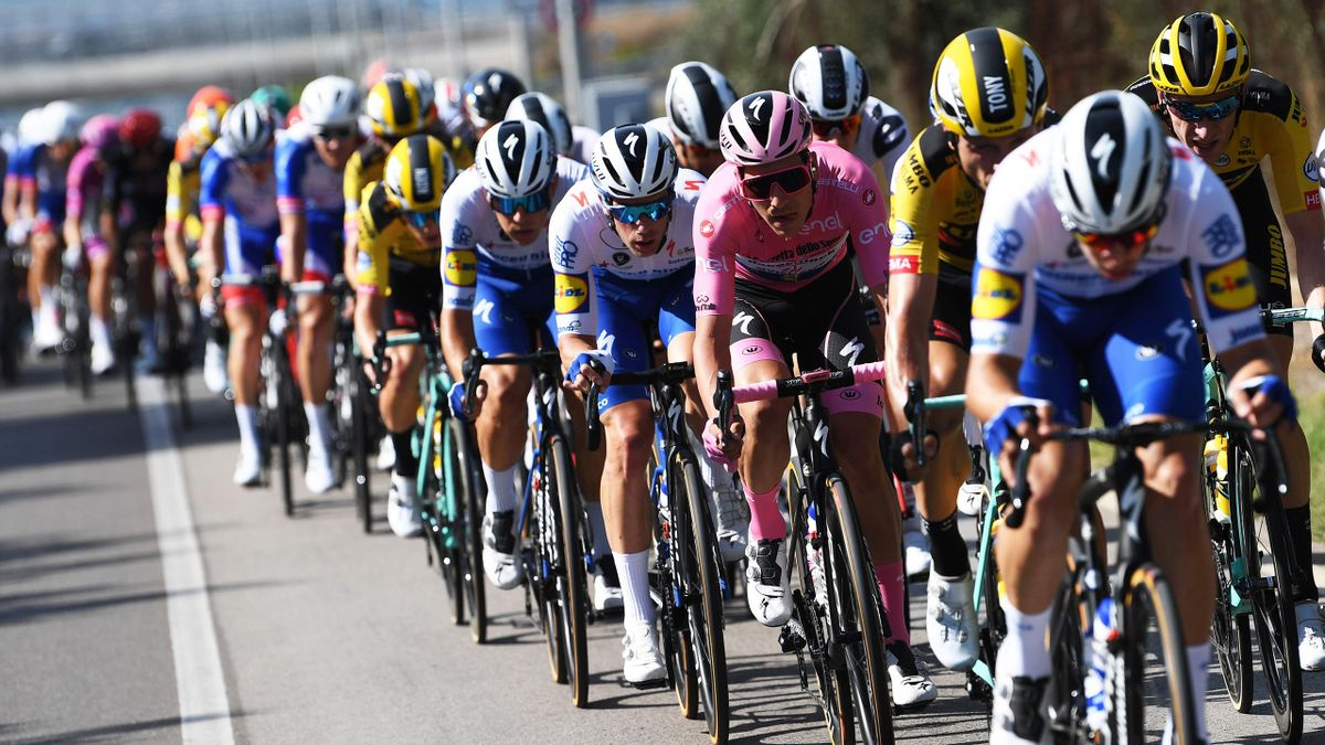 Joao Almeida of Portugal and Team Deceuninck - Quick-Step Pink Leader Jersey / Iljo Keisse of Belgium and Team Deceuninck - Quick-Step / during the 103rd Giro d'Italia 2020, Stage Seven a 143km stage from Matera to Brindisi
