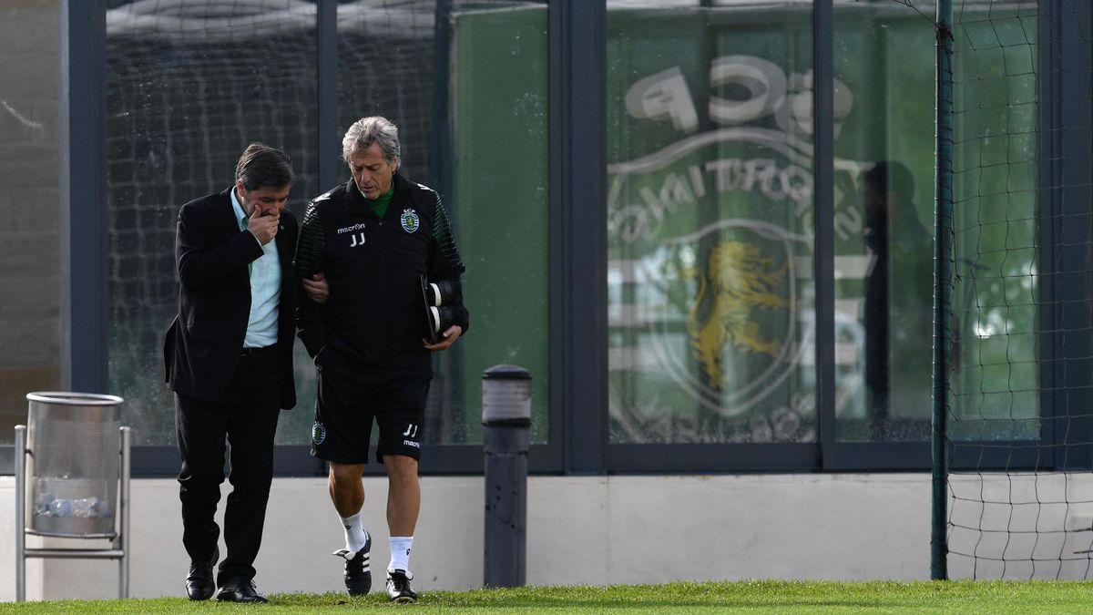 Bruno De Carvalho, président du Sporting Portugal, et son entraîneur Jorge Jesus