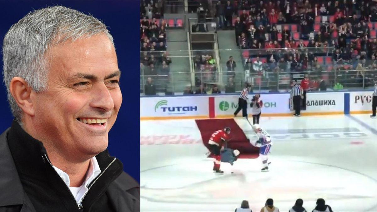 Mourinho, por los suelos en un partido de hockey hielo