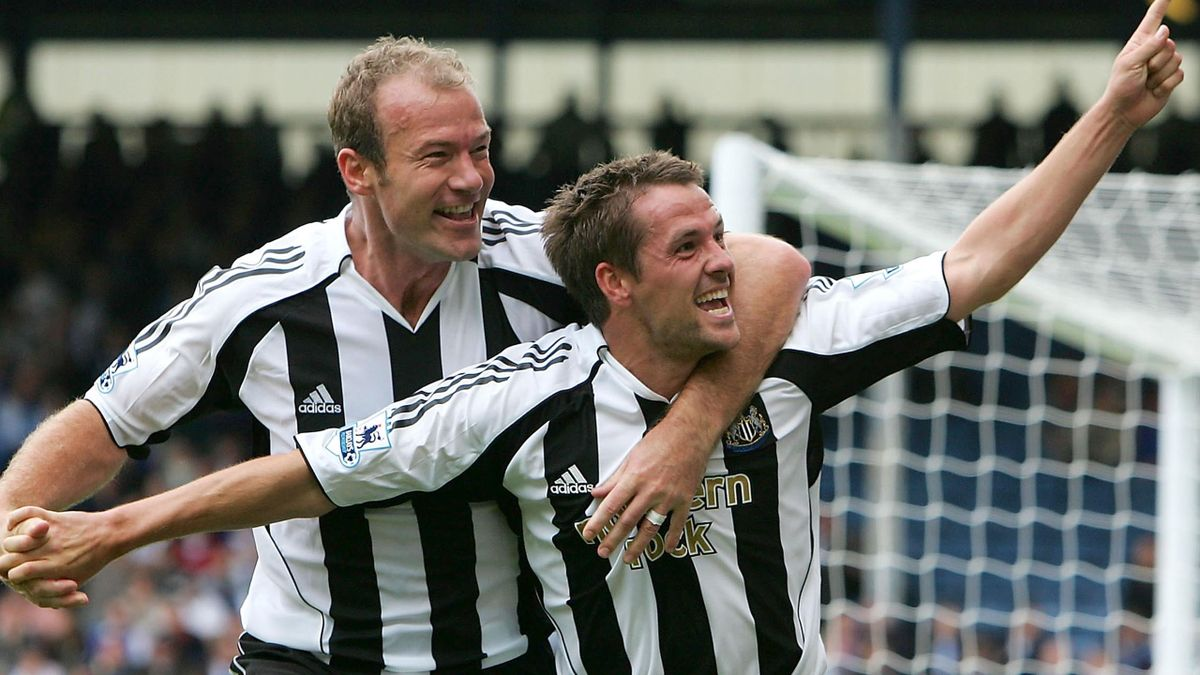 Happier times: Michael Owen and Alan Shearer celebrate a goal against Blackburn