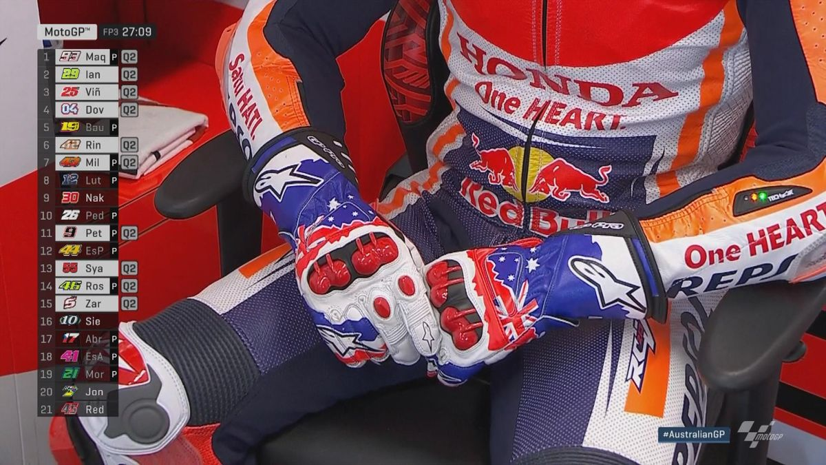 Australian GP - Moto GP FP3 - Marquez with Mike Doohan gloves