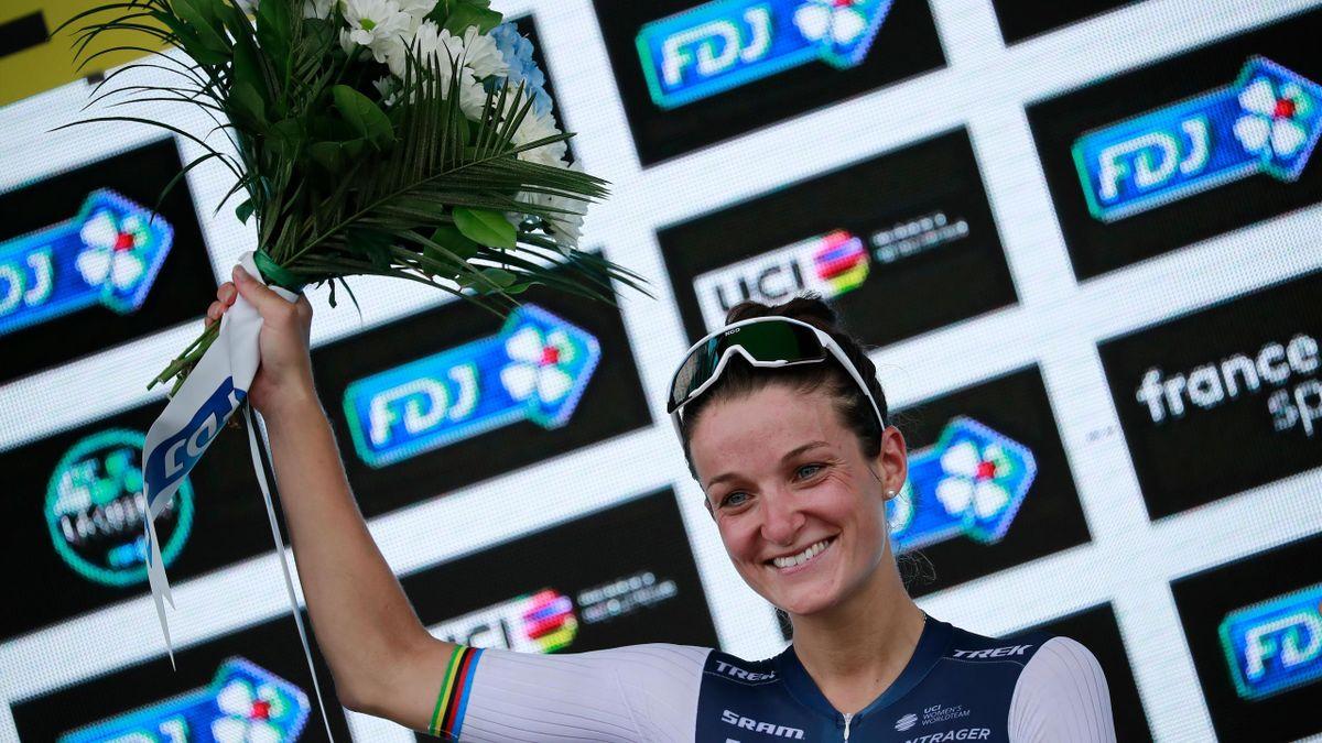 Team Trek-Segafredo's Elizabeth Deignan celebrates