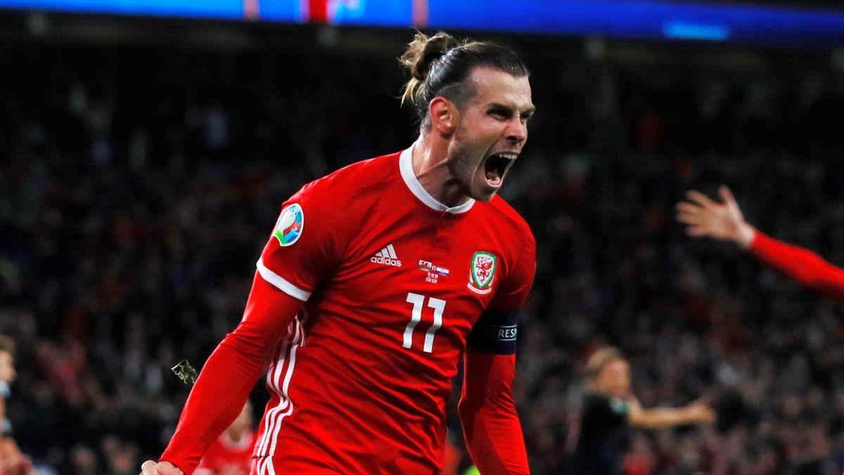 Wales' Gareth Bale celebrates scoring their first goal