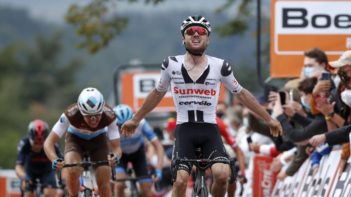 Marc Hirschi of Switzerland and Team Sunweb / Celebration / Benoit Cosnefroy of France and Team AG2R La Mondiale / during the 84th La Fleche Wallonne 2020, Men Elite a 202km stage from Herve to Mur de Huy / @flechewallone / #FlecheWallone / on September