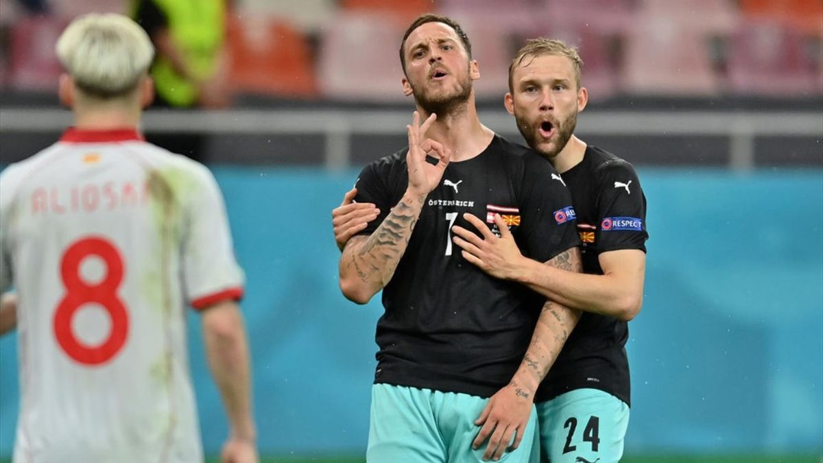 Arnautovic esulta per un gol durante Austria-Macedonia - Europei 2021