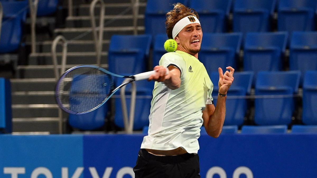 Alexander Zverev beim olympischen Tennisturnier in Tokio