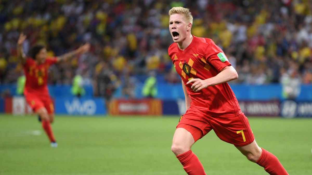 Kevin De Bruyne of Belgium celebrates after scoring his team's second goal