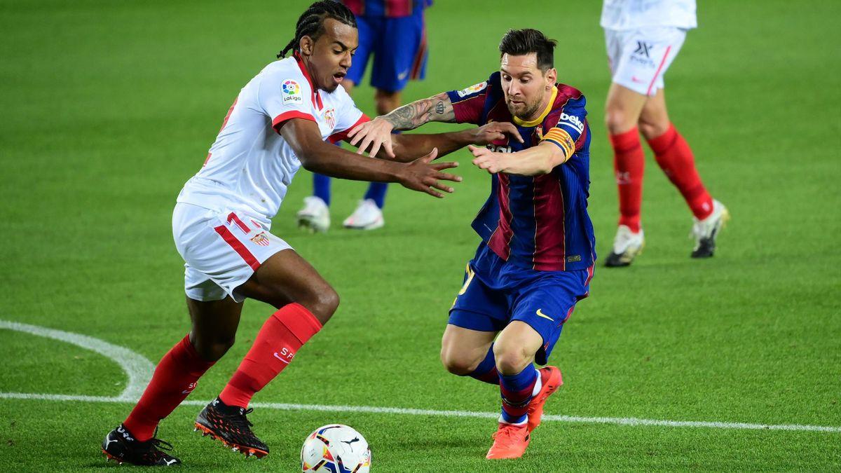 Barças Lionel Messi (rechts) im Spiel gegen den FC Sevilla