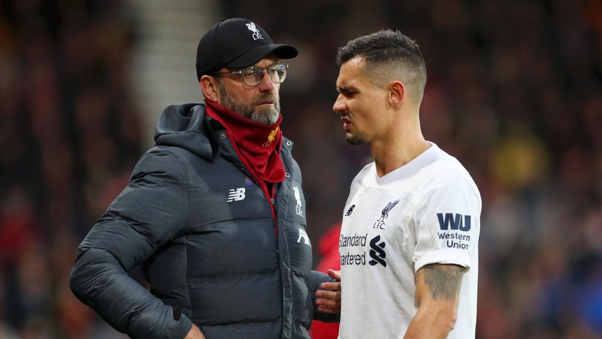 BOURNEMOUTH, ENGLAND - DECEMBER 07: Jurgen Klopp, Manager of Liverpool talks to Dejan Lovren of Liverpool during the Premier League match between AFC Bournemouth and Liverpool FC at Vitality Stadium on December 07, 2019 in Bournemouth, United Kingdom. (Ph