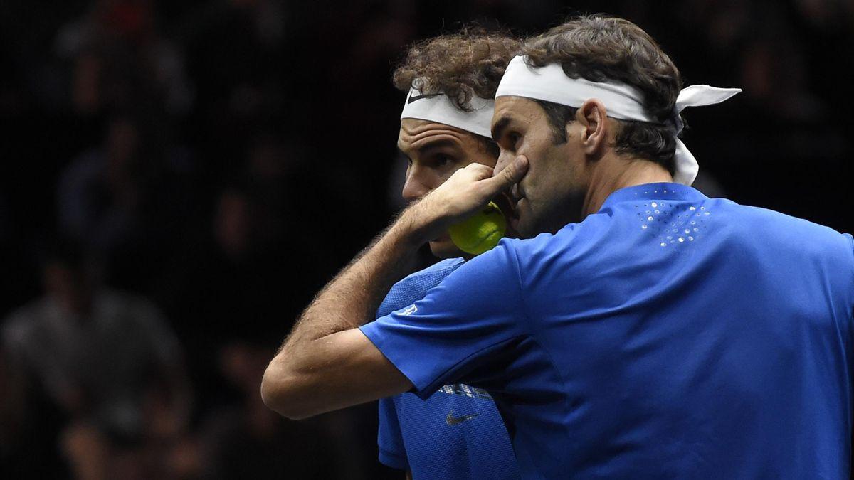 Roger Federer et Rafael Nadal lors de la Laver Cup