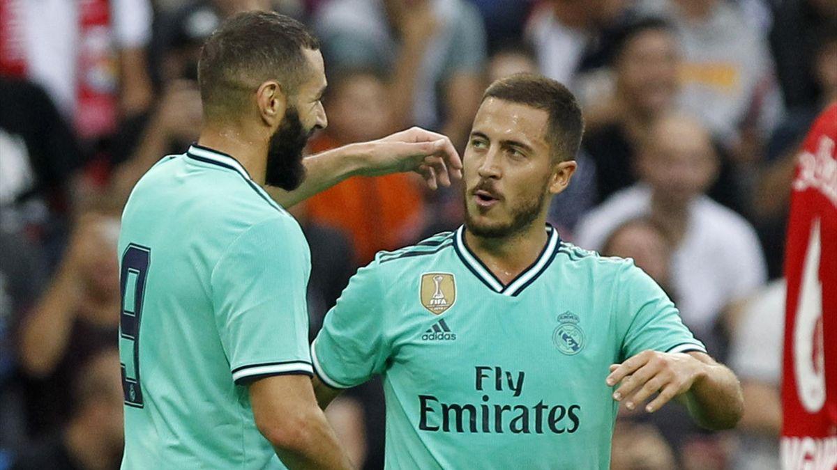 Karim Benzema (l.) und Eden Hazard von Real Madrid