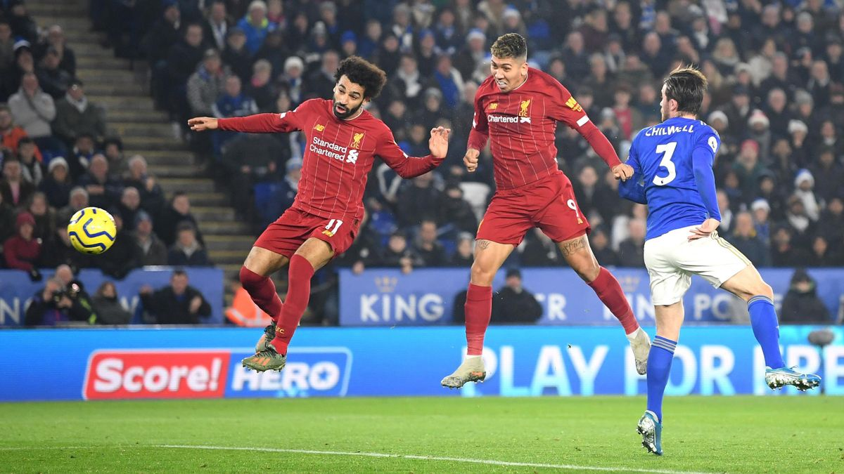 Roberto Firmino of Liverpool scores his team's first goal during the Premier League match between Leicester City and Liverpool FC at The King Power Stadium on December 26, 2019 in Leicester, United Kingdom.