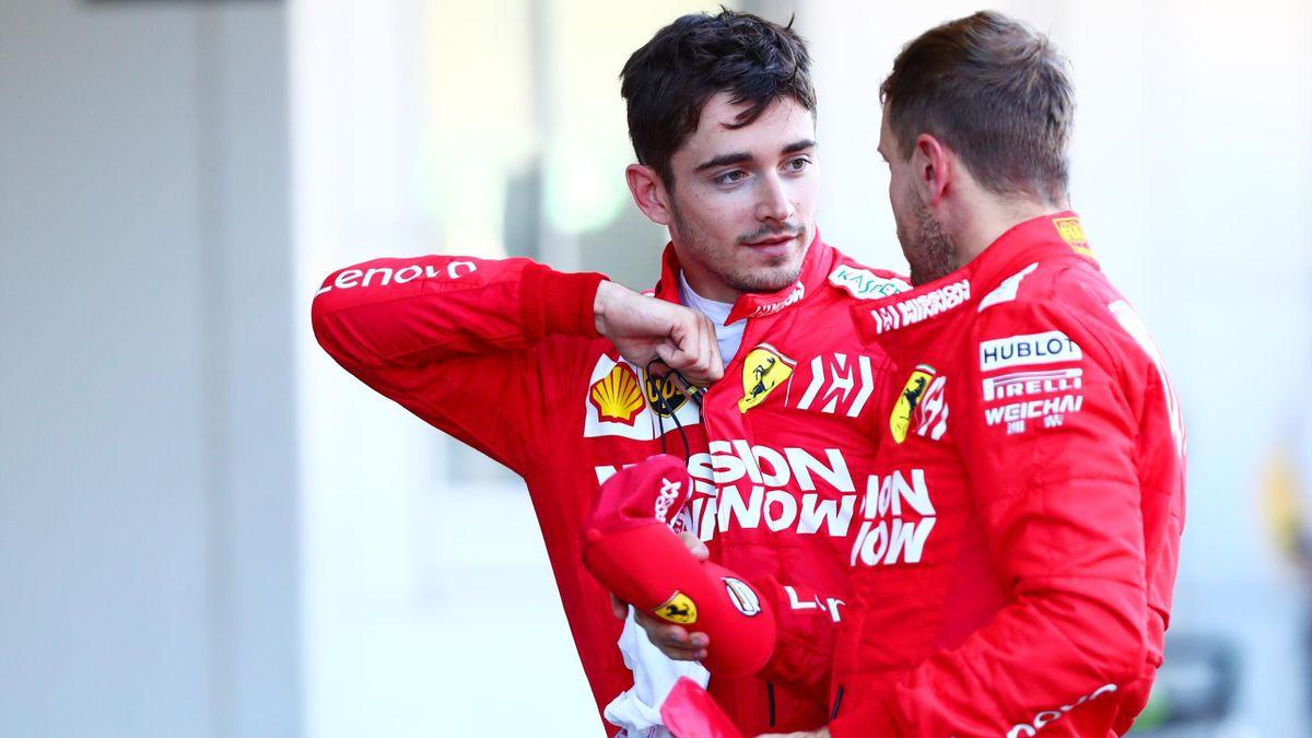 Charles Leclerc e Sebastian Vettel a colloquio dopo il GP di Suzuka, Getty Images