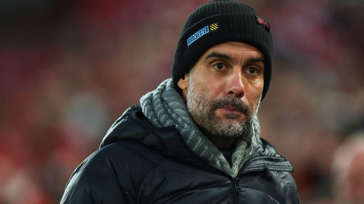 Pep Guardiola the head coach / manager of Manchester City uring the Premier League match between Liverpool FC and Manchester City