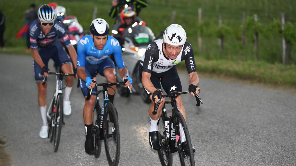 GORIZIA, ITALY - MAY 23: Oscar Riesebeek of Netherlands and Team Alpecin-Fenix, Albert Torres Barcelo of Spain and Movistar Team & Victor Campenaerts of Belgium and Team Qhubeka Assos during the 104th Giro d'Italia 2021, Stage 15 a 147km stage from Grado
