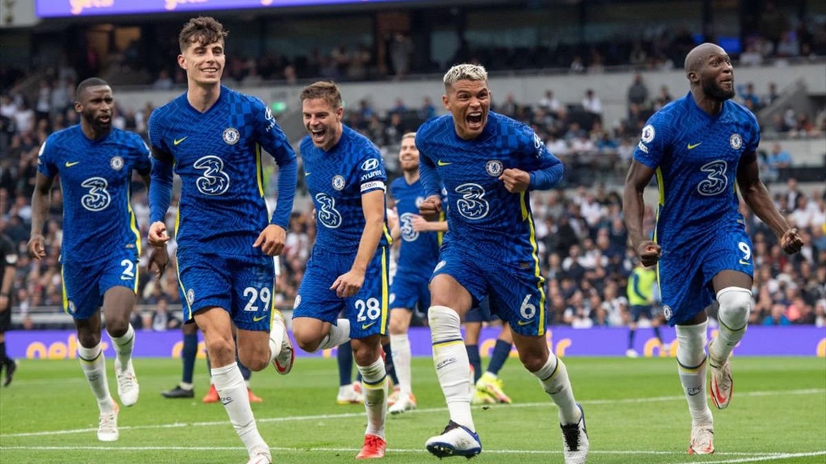 Tiago Silva (second from right) celebrates scoring Chelsea's first goal during the Premier League match between Tottenham Hotspur and Chelsea at Tottenham Hotspur Stadium on September 19, 2021 in London, England.