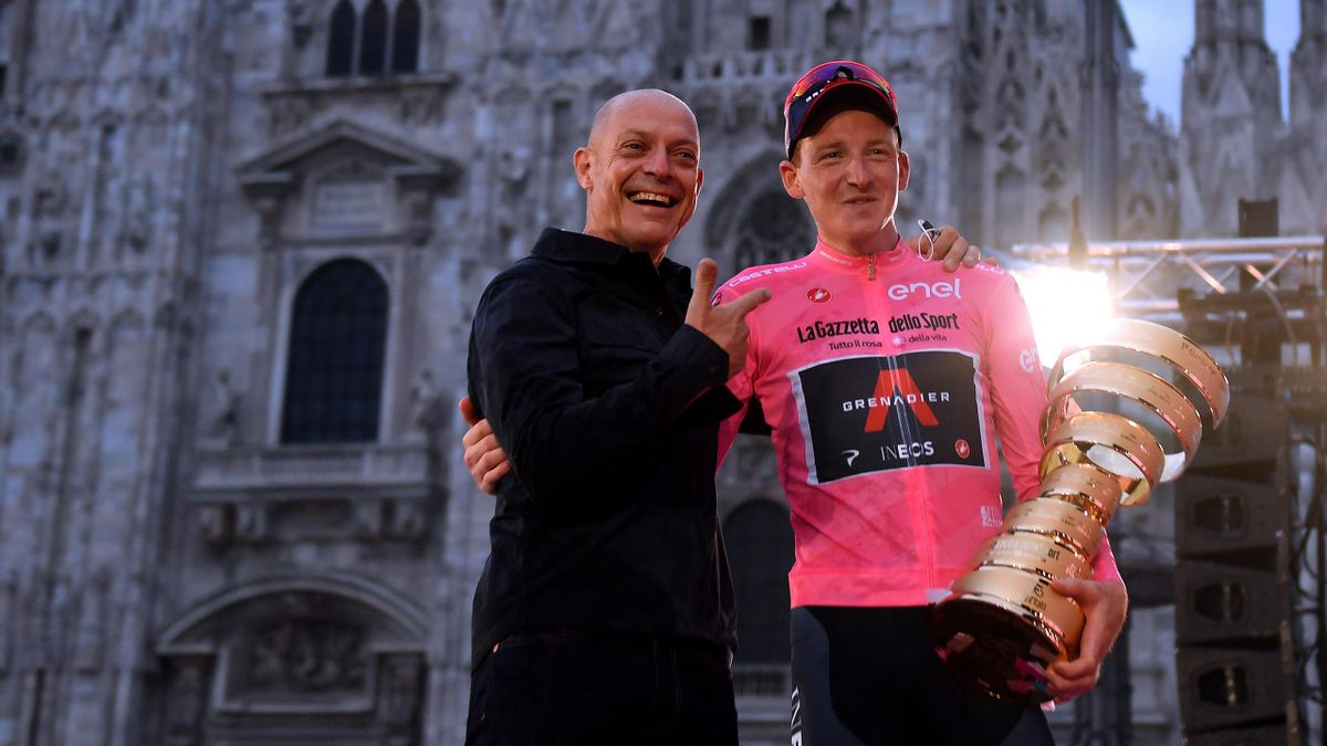 Tao Geoghegan Hart of The United Kingdom and Team INEOS Grenadiers Pink Leader Jersey / Sir Dave Brailsford