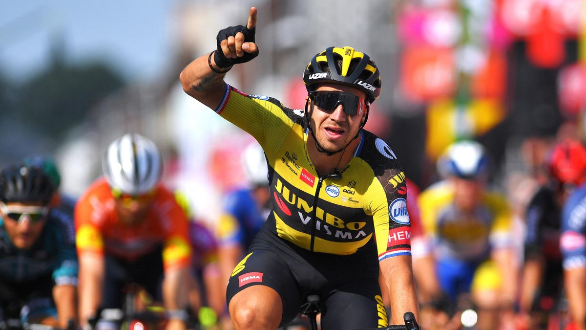 Dylan Groenewegen of Netherlands and Team Jumbo - Visma celebrates at arrival during the 42nd Tour de Wallonie 2021, Stage 4 206km stage from Neufchâteau to Fleurus