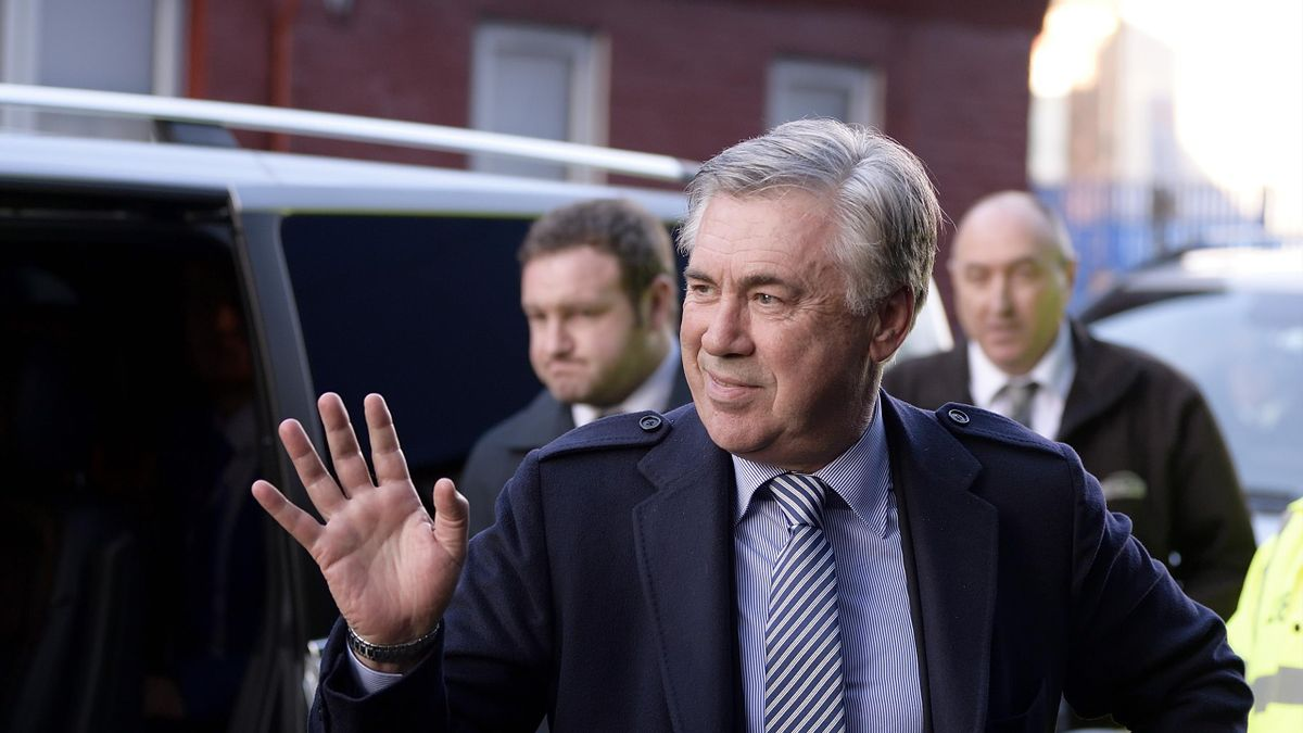 New Everton manager Carlo Ancelotti arrives at Goodison Park before the Premier League match between Everton and Arsenal at Goodison Park on December 21, 2019 in Liverpool, England