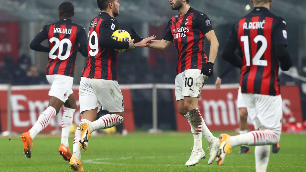 Milan players celebrate a goal against Parma