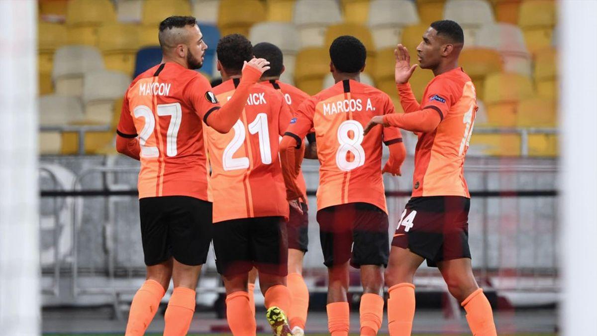 L'esultanza dei giocatori dello Shakhtar Donetsk