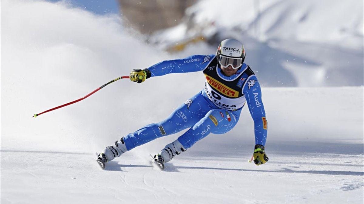 Emanule Buzzi durante una prova della Coppa del mondo 2020-21 di sci alpino