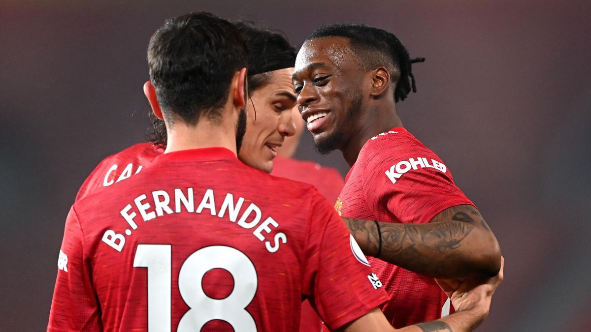 Aaron Wan-Bissaka celebrates scoring for Manchester United