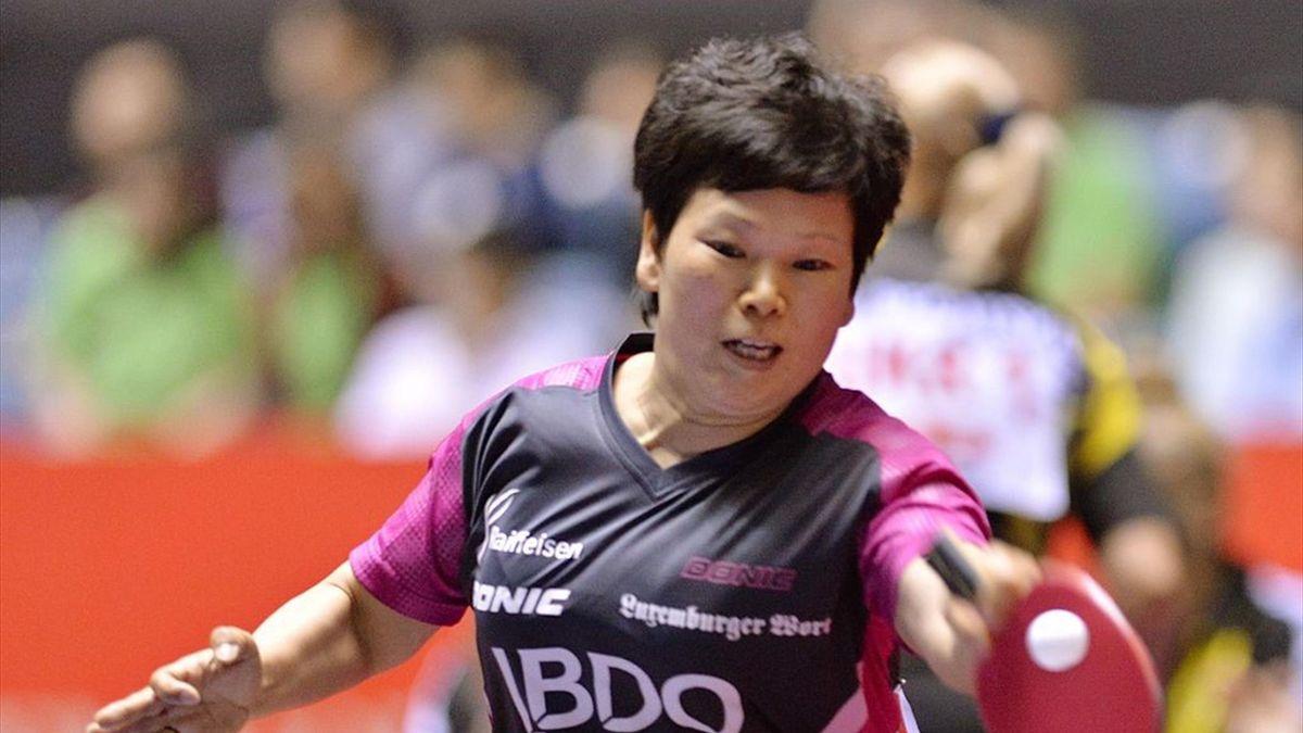 Luxembourg's Ni Xialian returns a shot against South Korea's Seok Hajung