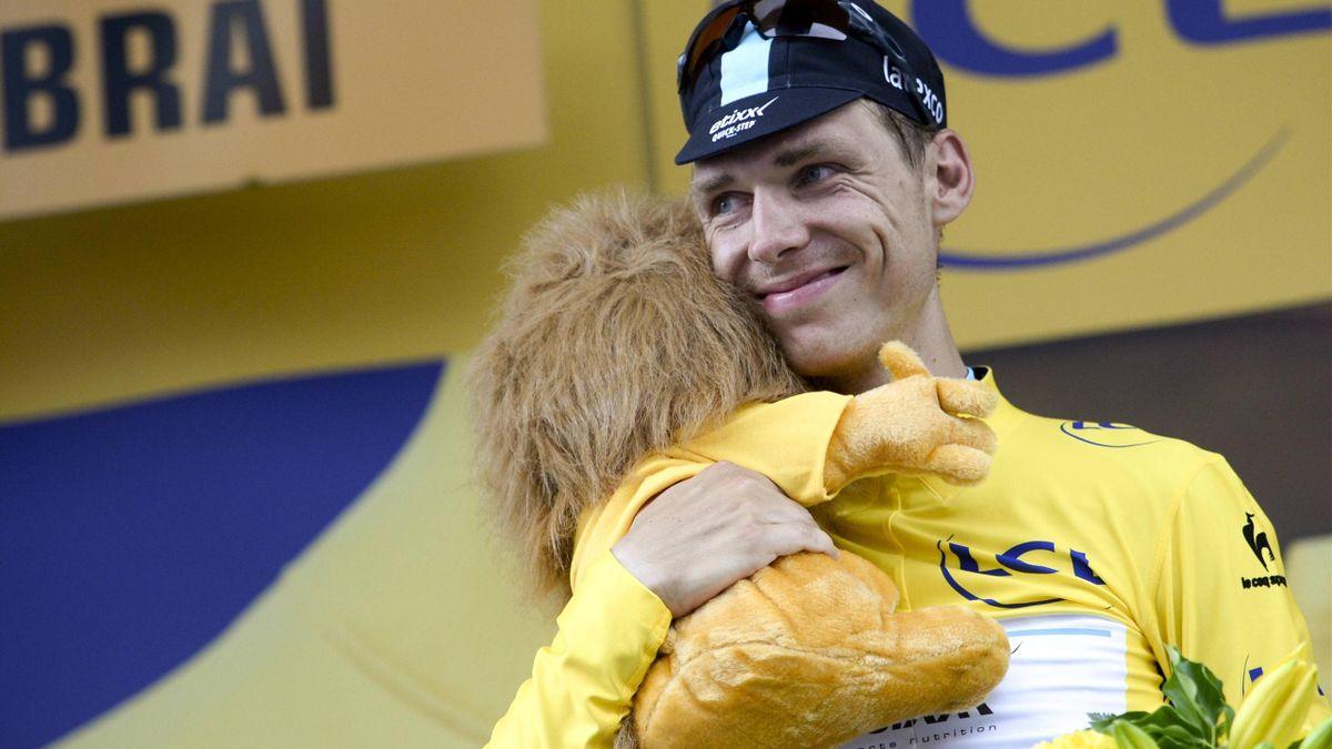 Tony Martin im Gelben Trikot nach seinem Etappensieg bei der Tour de France