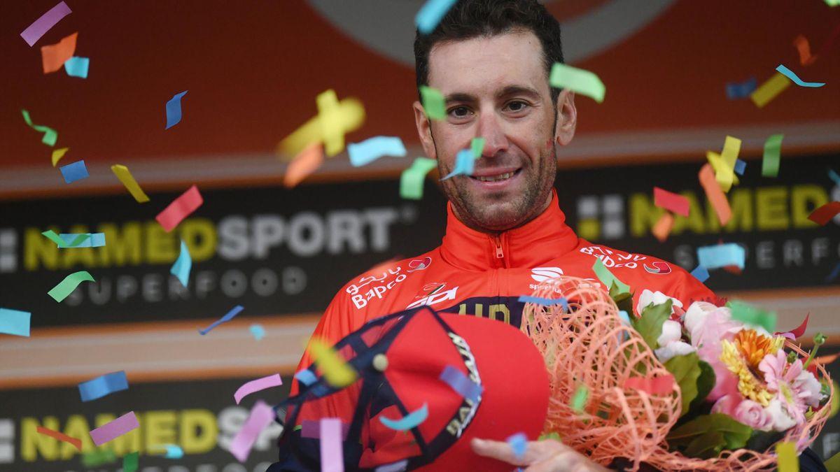 Italy's Vincenzo Nibali of team Bahrain celebrates on the podium