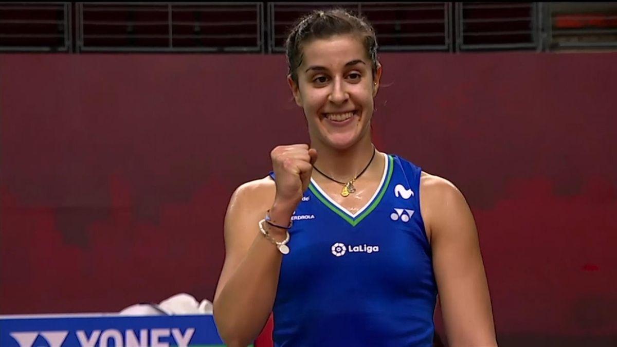 Carolina Marín celebra su pase a semifinales en Bangkok