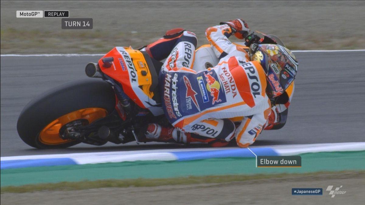 GP Japan - MotoGP WUP - Marquez elbow on track