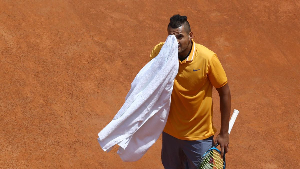 Nick Kyrgios (AUS) during the ATP Internazionali d'Italia BNL first round match at Foro Italico in Rome
