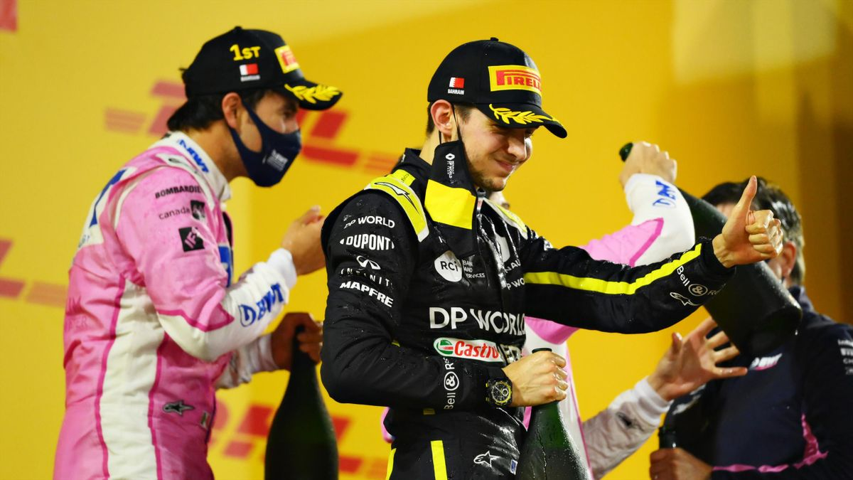 Second placed Esteban Ocon of France and Renault Sport F1 celebrates on the podium during the F1 Grand Prix of Sakhir at Bahrain International Circuit on December 06, 2020