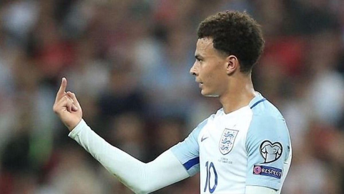 Dele Alli in action during the FIFA 2018 World Cup Qualifier between England and Slovakia at Wembley Stadium on September 4, 2017