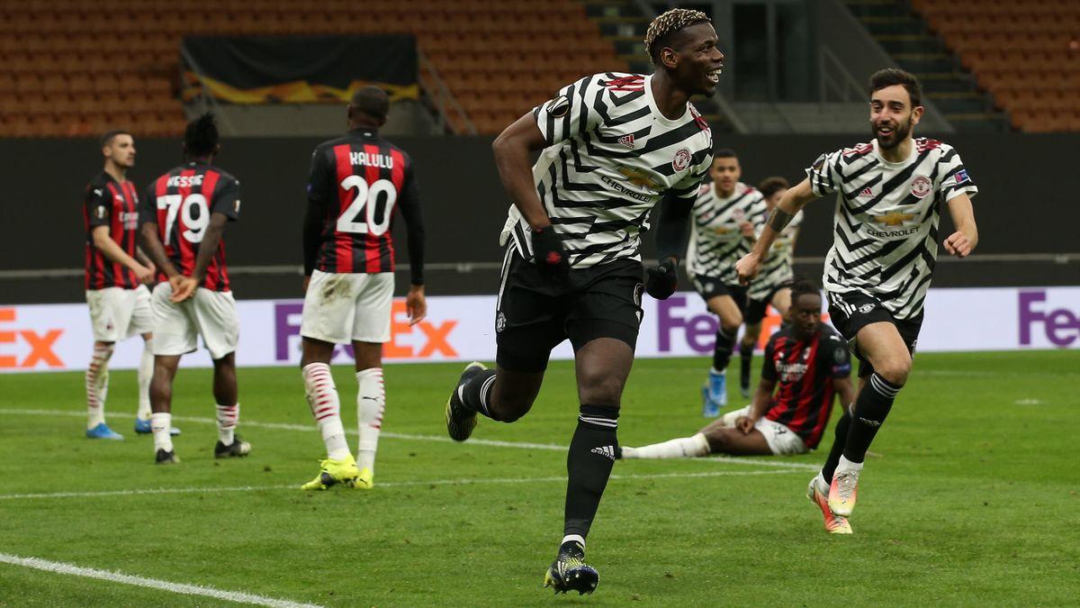 Paul Pogba jubelt - AC Mailand vs. Manchester United