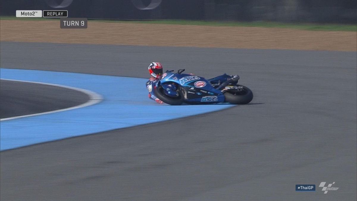 GP Thailand: Moto 2 Pasini crash