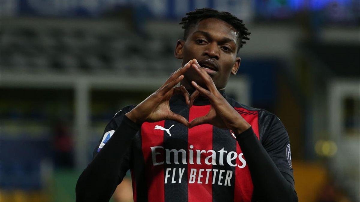L'esultanza di Rafael Leao dopo il gol in Parma-Milan Serie A 2020-21