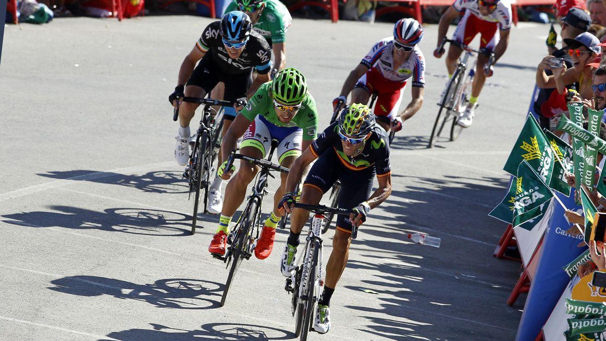 Alejandro Valverde devant Peter Sagan lors du final de la 4e étape du Tour d'Espagne 2015