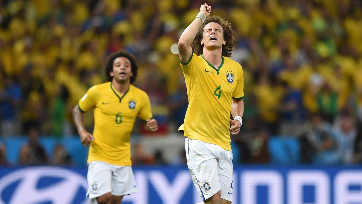 La joie de David Luiz lors de Brésil - Colombie