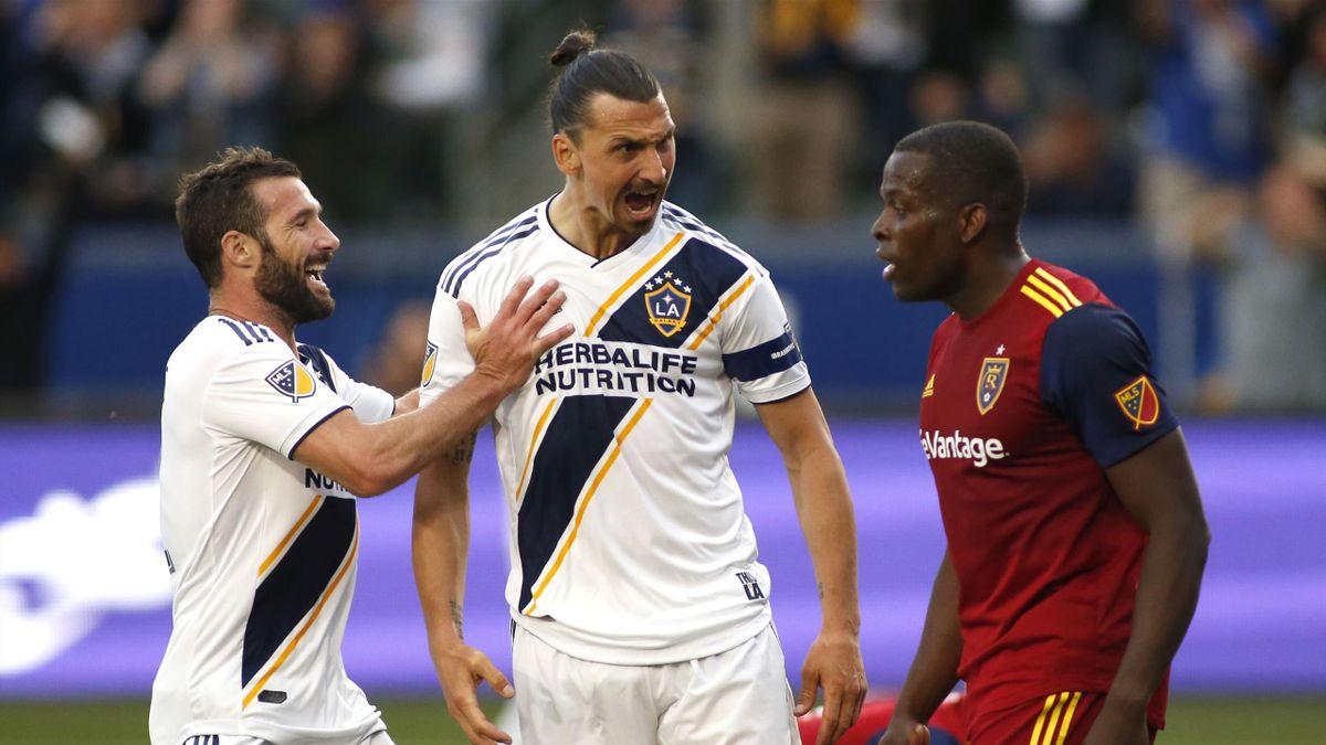 Zlatan Ibrahimovic celebrates as he yells at Nedum Onuoha of Real Salt Lake during the second half a game at Dignity Health Sports Park on April 28, 2019 in Carson, California