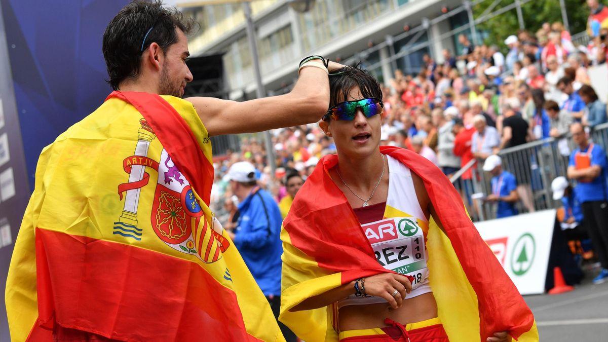Álvaro Martín, oro en la prueba masculina de 20 kilómetros marcha, felicita a María Pérez, oro en la femenina de los Europeos de Berlín 2018