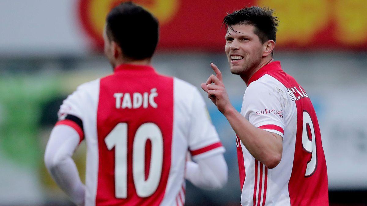 Klaas-Jan Huntelaar (rechts; Ajax Amsterdam) und Dusan Tadic