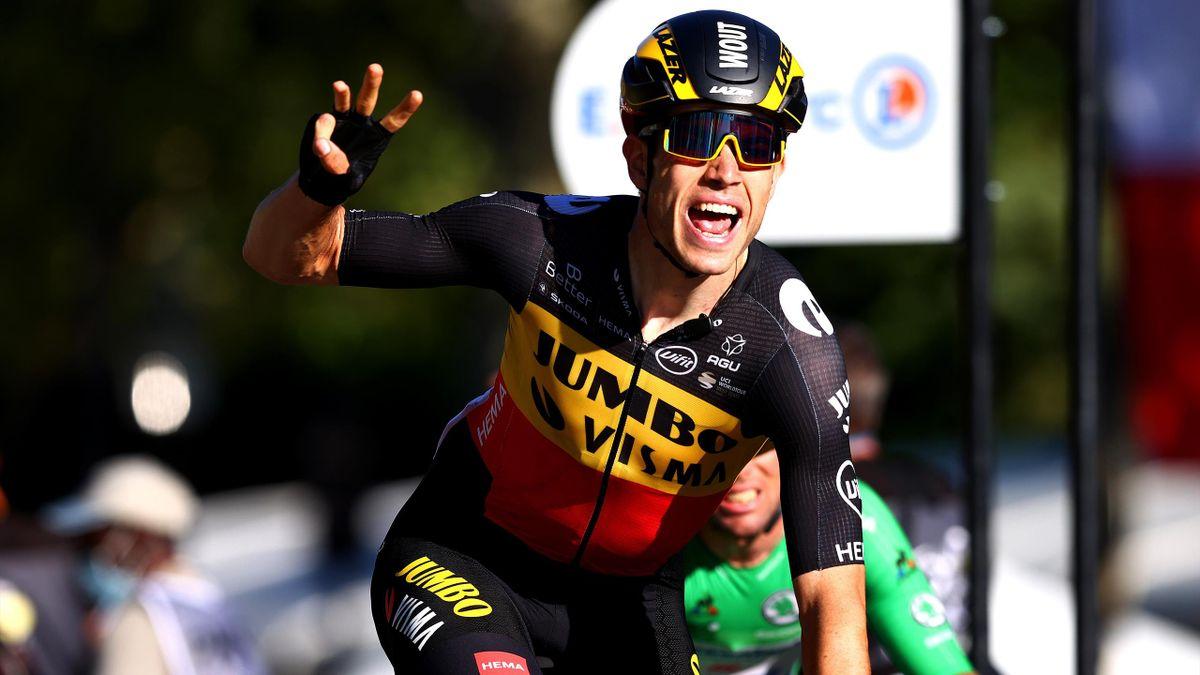 Wout van Aert wins on Champs-Élysées in Paris, Tour de France 2021.