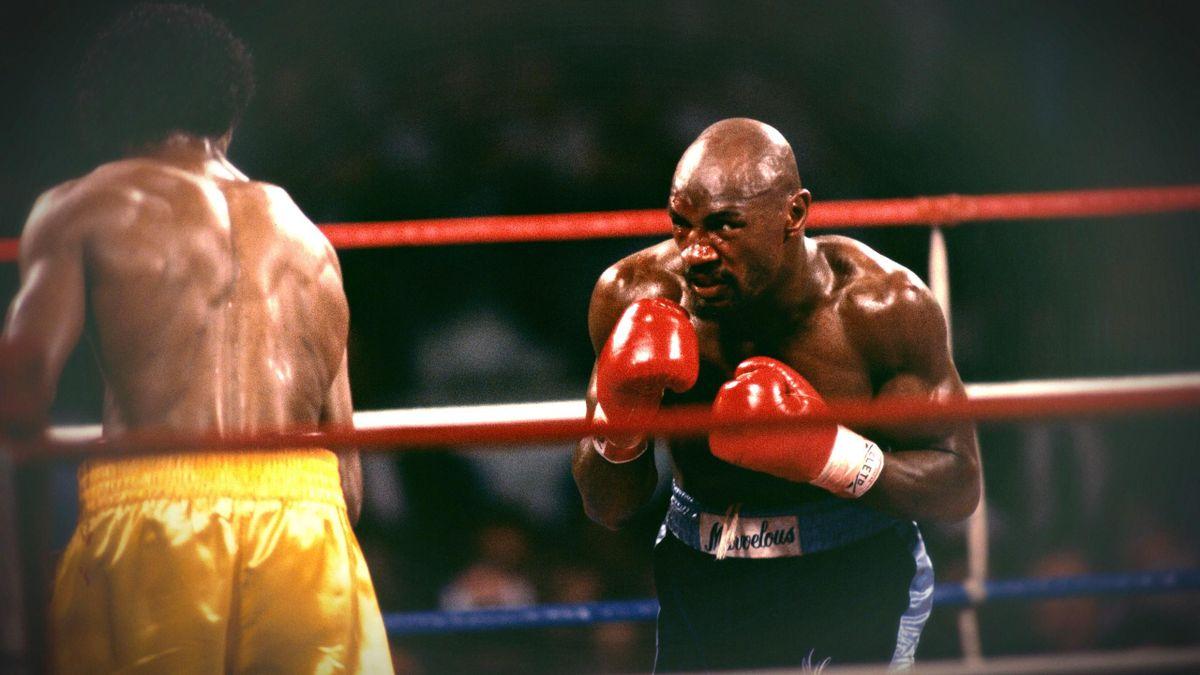 Marvin Hagler face à Thomas Hearns, le 15 avril 1985.