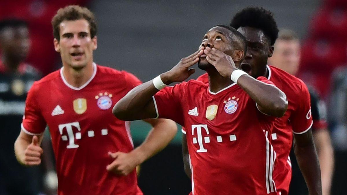 David Alaba bejubelt seinen Treffer zum 1:0 im DFB-Pokalfinale 2020